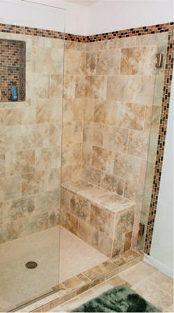 Tile shower with glass doors in Hoquiam, WA